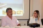 Eduardo Barroso, diretor da FloripAmanhã, e Maria Cláudia Evangelista, secretária municipal de Turismo