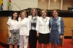 Ana Lavrati, ex-diretora adjunta de comunicação; Zena Beckar, Márcia Teschner, secretária executiva, Anita Pires e Solange Borguesan, diretora financeira.